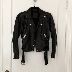 All Saints black leather Sidney biker moto jacket